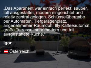 wohnen-dornbirn.at | booking.com Bewertung von Igor